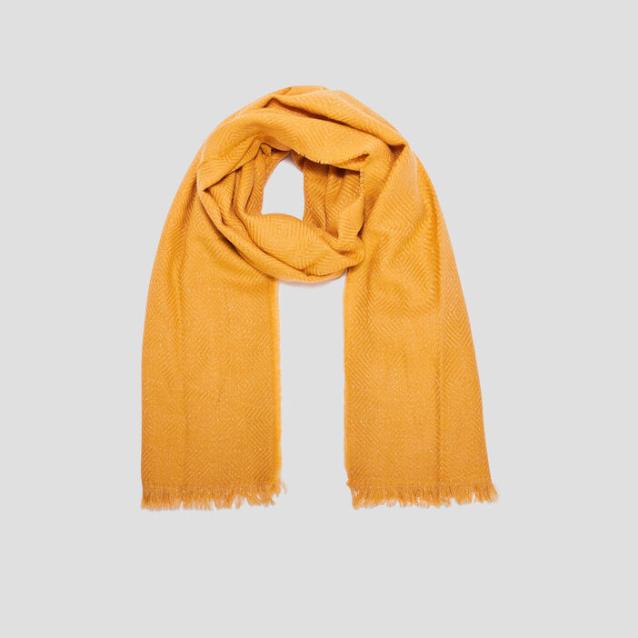 Écharpe femme jaune moutarde