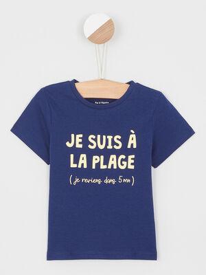 T shirt col rond message devant denim blue black garcon