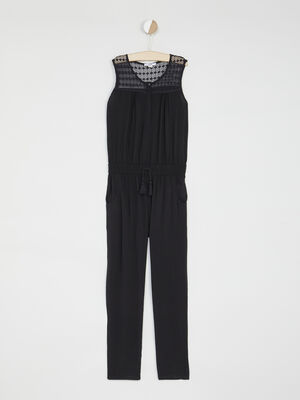 Combinaison pantalon avec dentelle noir fille