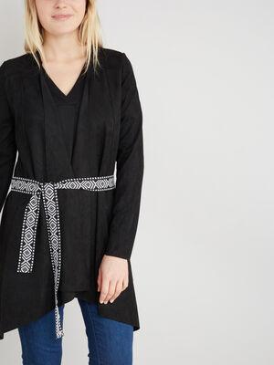 Veste avec ceinture imprimee noir femme