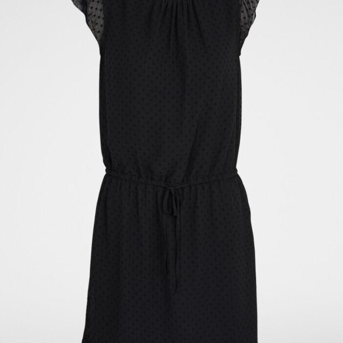 Robe avec manches courtes volantées femme noir