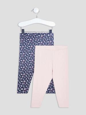 Lot 2 leggings bleu marine bebef