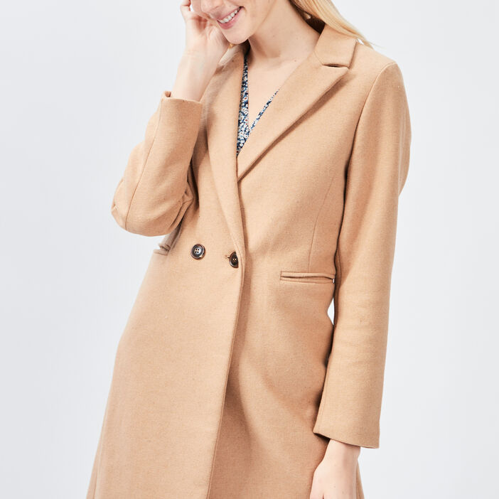 Manteau droit boutonné femme camel