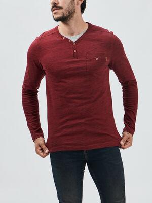 T shirt manches longues Creeks bordeaux homme
