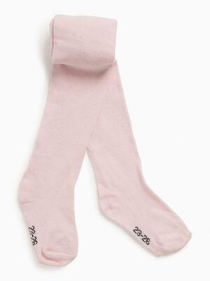 Collants unis coton majoritaire rose fille
