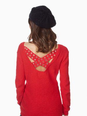 Beret tricot uni avec torsades noir femme