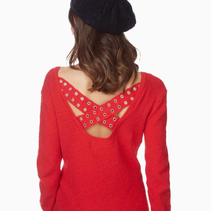 Béret tricot uni avec torsades femme noir