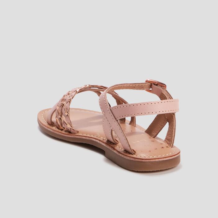 Sandales en cuir fille rose