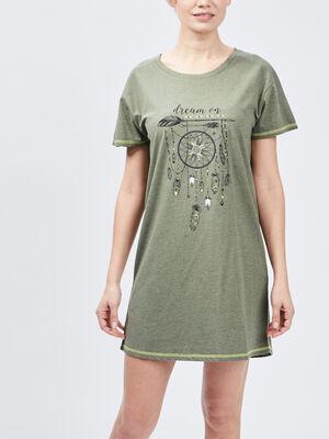 Chemise de nuit vert kaki femme