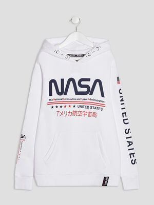 Sweat a capuche NASA blanc garcon