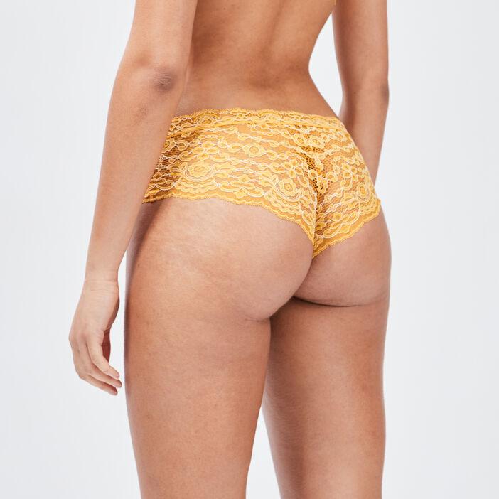 Boxer en dentelle femme jaune moutarde