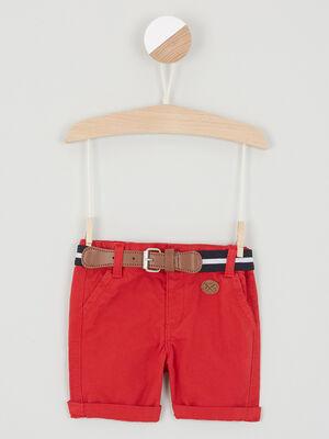 Bermuda uni avec ceinture bimatiere rouge garcon