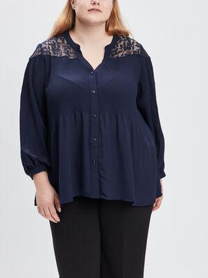 Chemise grande taille bleu marine femmegt