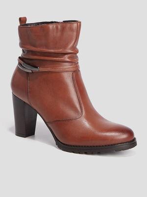 Bottines en cuir a talons plissees marron femme