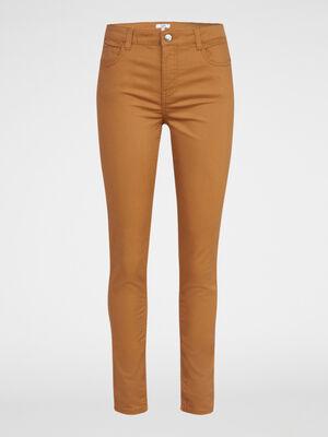 Pantalon slim uni camel femme
