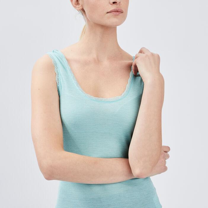 Débardeur bretelles larges femme bleu turquoise