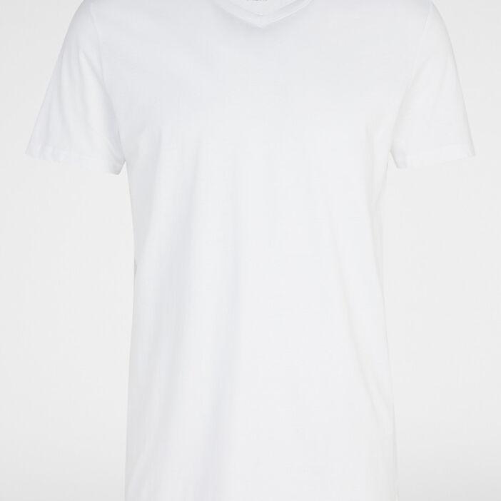 T-shirt col V uni homme blanc