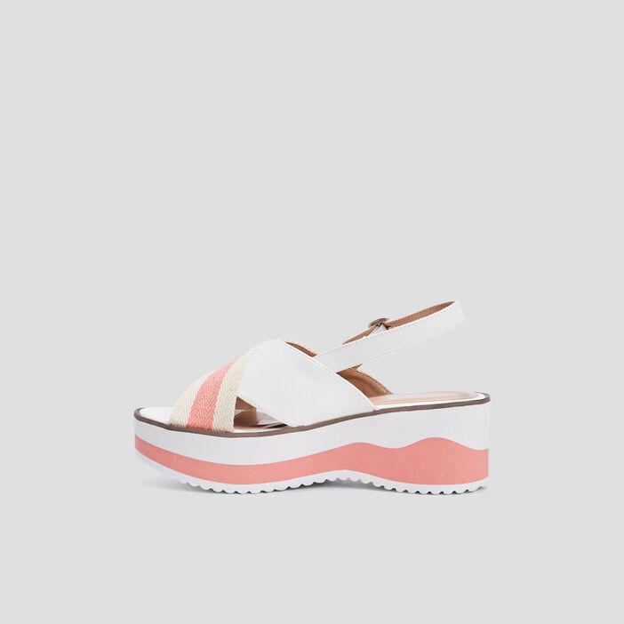 Sandales compensées crantées femme blanc