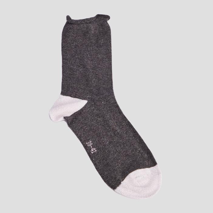 Lot 5 paires chaussettes femme gris