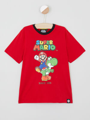 T shirt Mario col rond contrastant rouge garcon