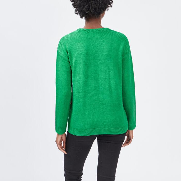 Pull musical à sequins femme vert