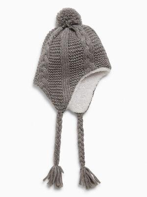 Bonnet peruvien avec pompon gris fille