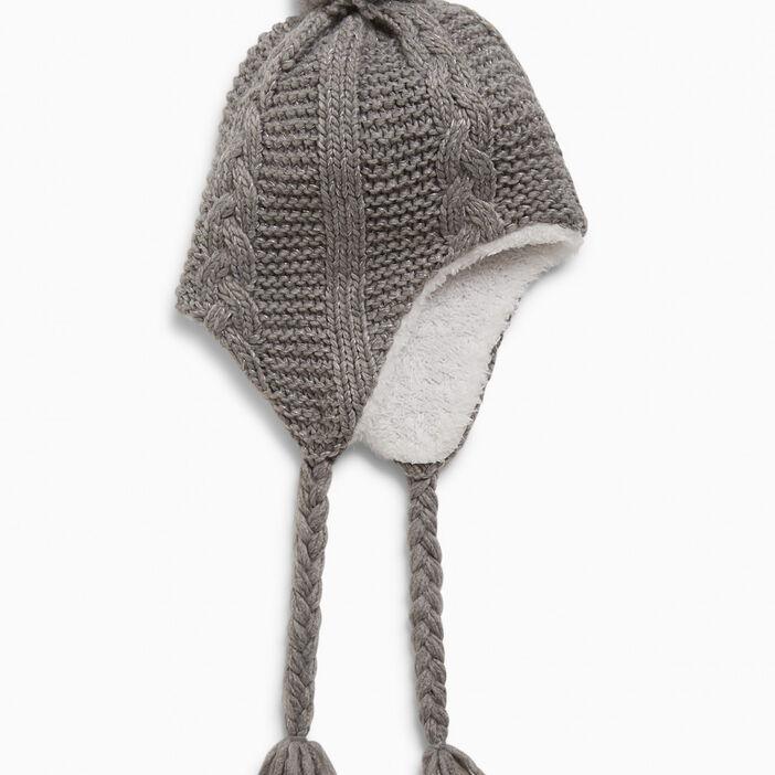 Bonnet péruvien avec pompon fille gris
