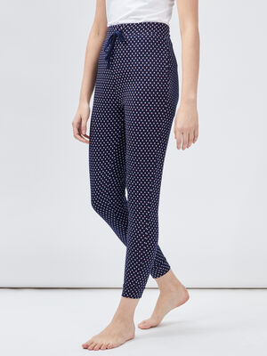 Pantalon de pyjama imprime bleu marine femme