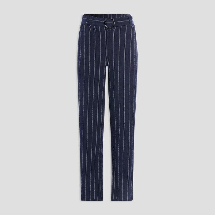 Pantalon droit ample femme bleu marine
