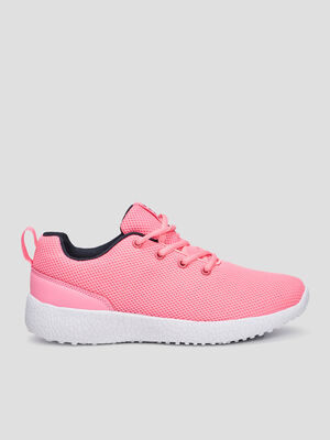 Runnings souples unies a lacets rose femme