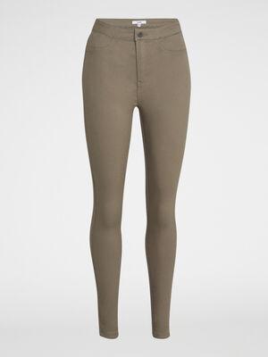 Pantalon uni coupe slim vert kaki femme