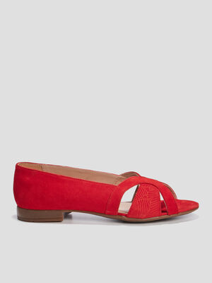 Ballerines a bout ouvert rouge femme