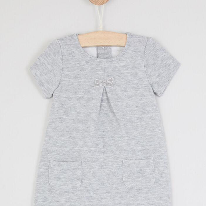 Robe trapèze à manches courtes bébé fille gris