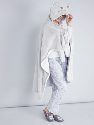 Plaid a capuche chat brode taupe femme