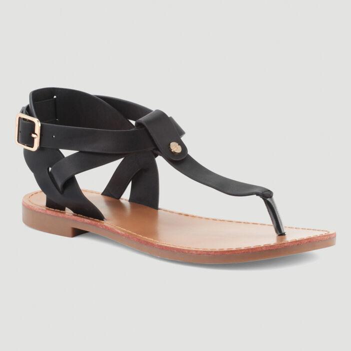 Sandales plates brides croisées femme noir