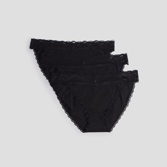 Lot 3 culottes avec dentelle femme noir