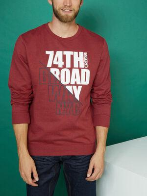 Sweatshirt col rond avec imprime bordeaux homme