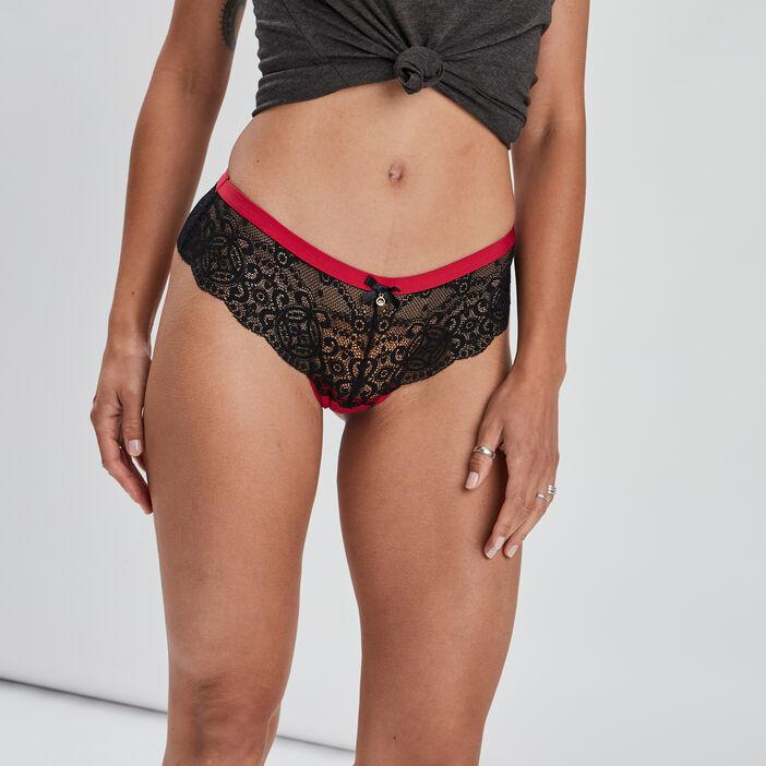 Boxer string à dentelle femme rouge