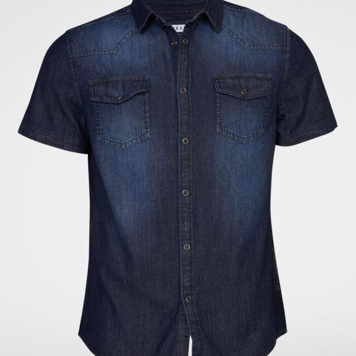 Chemise en coton délavée homme bleu
