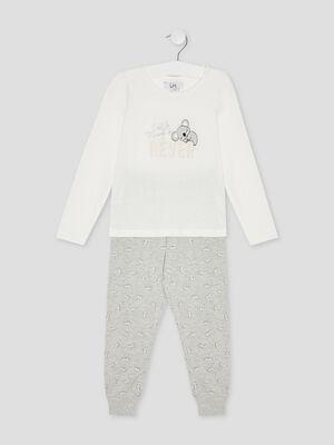 Pyjama manches longues imprime blanc fille