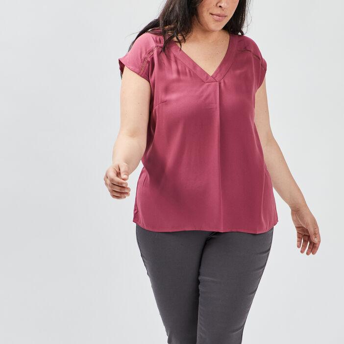 Blouse manches courtes femme grande taille violet foncé
