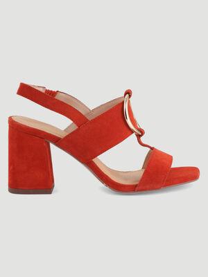 Sandales cuir boucle talon carre orange fonce femme