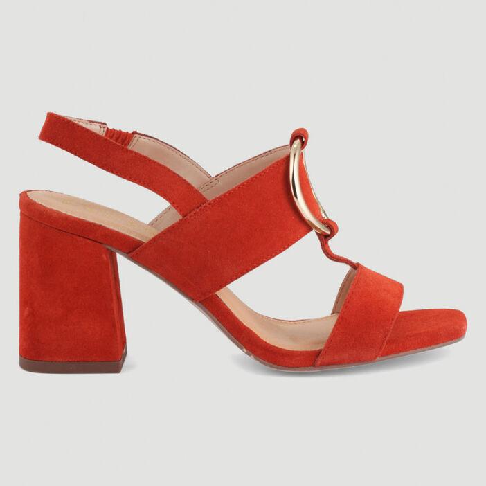 Sandales cuir boucle talon carré femme orange foncé