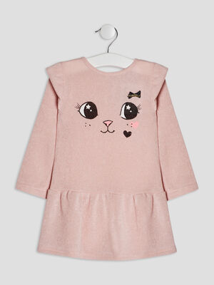 Robe evasee a volants rose bebef