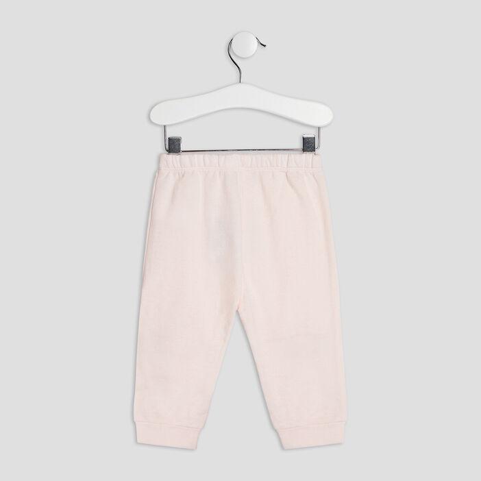 Pantalon droit élastiqué bébé fille rose clair