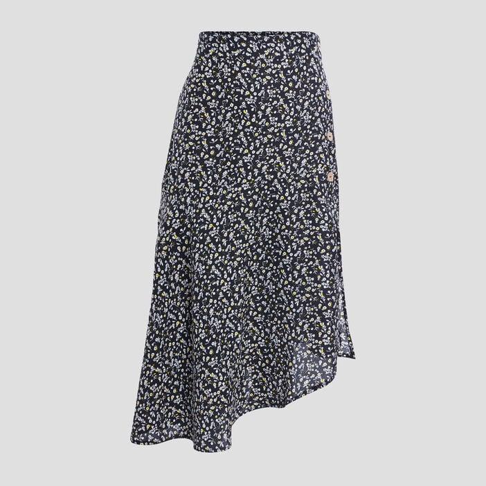 Jupe portefeuille asymétrique femme noir
