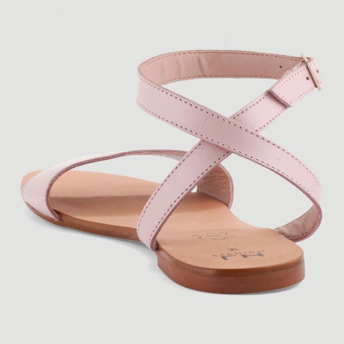 Sandales à bride imprimé python femme rose