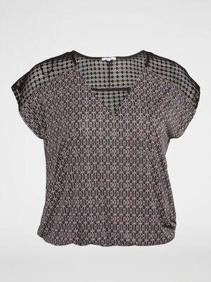 T shirt blousant imprime avec dentelle noir femme