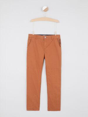 Pantalon chino boutonne en coton marron cognac garcon