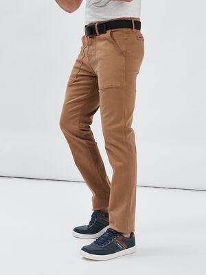 Pantalon regular stretch camel homme